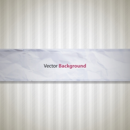 Abstract background with vertical stripes behind a crumpled piece of paper . Vector
