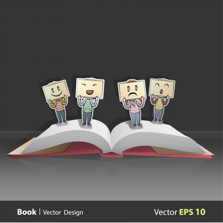 Open book with different emotions.  Pop-Up Illustration.  Vector