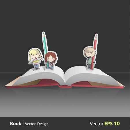 Pop up book with kids.  Vector