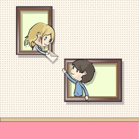teenagers having fun: Children in a museum by sending a letter  Vector illustration