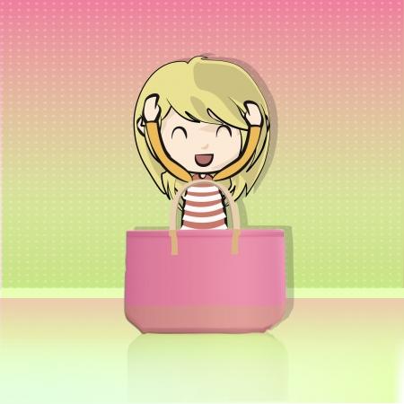 Blonde girl with big pink bag  Background illustration Stock Vector - 16932503
