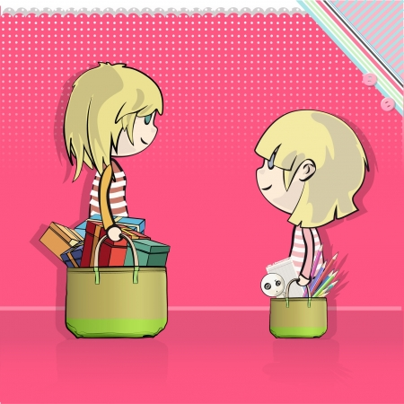 Two friends buy a lot in the supermarket  Vector design Stock Vector - 16932488