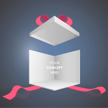 commemorate: Present box with red ribbon. Isolated on blue background.  Illustration