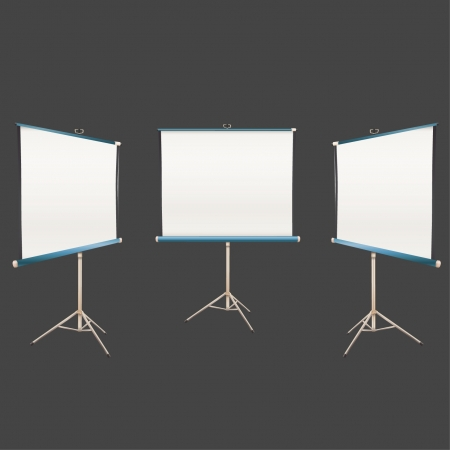 Empty projector screen Isolated on black in many positions. Vector design.  Vector