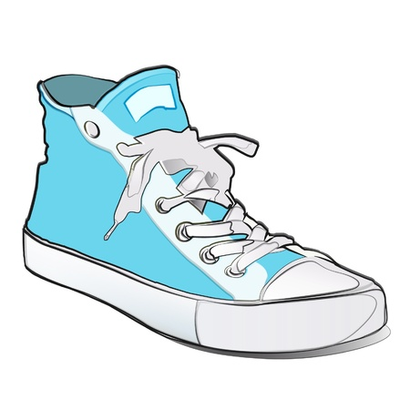 Blue shoe isolated on white. Vector cartoon.