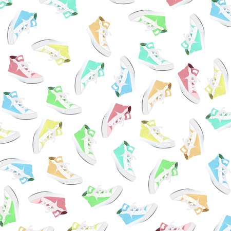 Pattern of fashion colorful shoes. Vector design. Stock Vector - 16932489