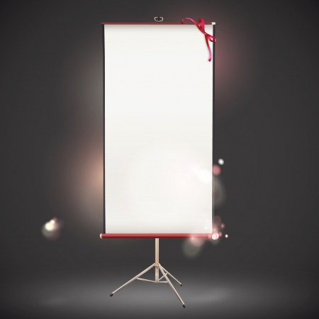Vertical projector screen on dark background. Vector illustration.  Stock Vector - 16932504