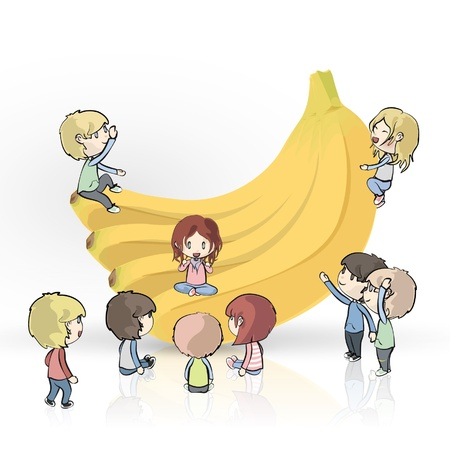 Bananas with many kids on white background design.  Stock Vector - 17039588