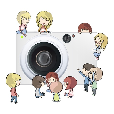Camera with several kids. Vector design.  Vector