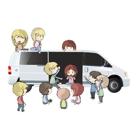 kids around the van design.  Vector