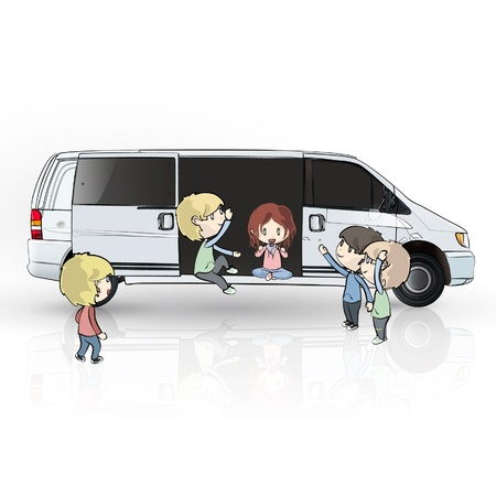 kids on van design.  Vector