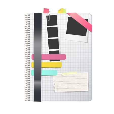 Open white notebook with several elements. Vector design.  Vector