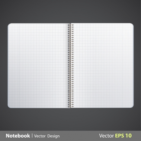 spiral notebook: Ring notebook with squared. Vector design.