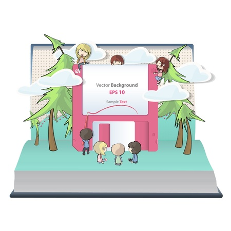 Kids playing with diskette inside a pop-up book. Vector design. Stock Vector - 17039626