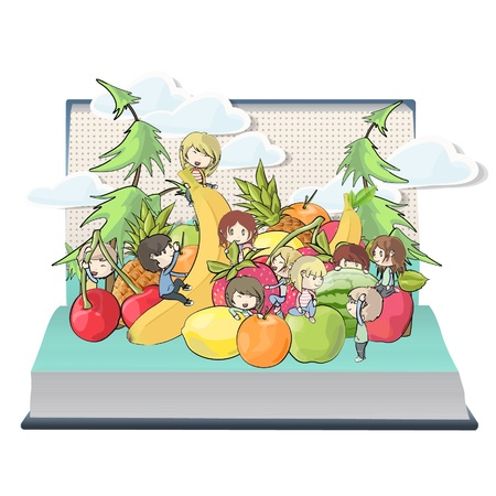Children playing around fruits inside a book design.  Stock Vector - 17039640