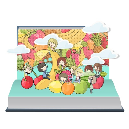 Children playing around fruits inside a Pop-Up book design.  Stock Vector - 17039618