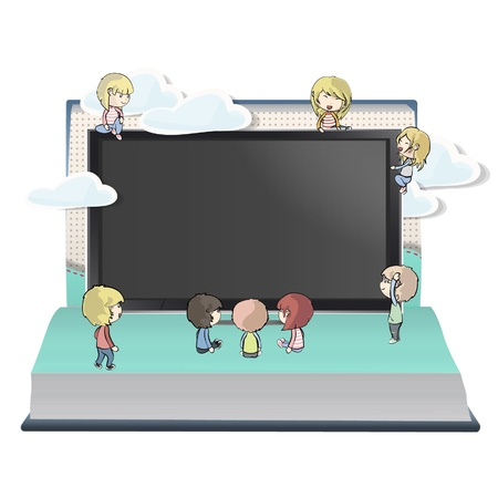 Many children around a TV inside a Pop-Up book design.  Stock Vector - 17039624