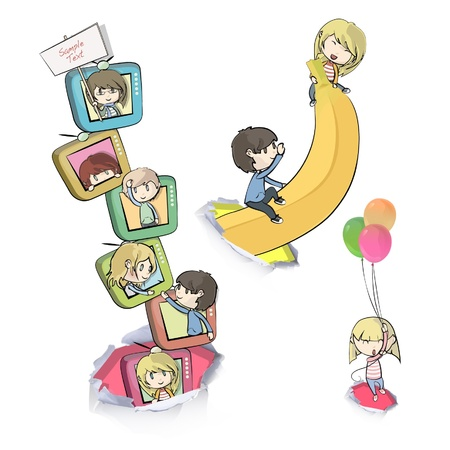 banana sheet: Children playing with their friends  Illustration