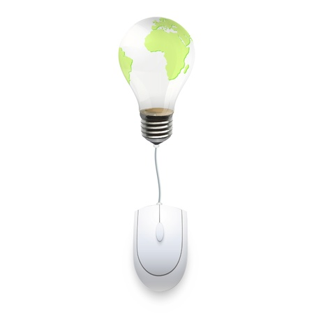 Computer mouse connected to a eco lightbulb Stock Vector - 17042444