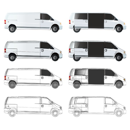 Several van sketch. Stock Vector - 17042494