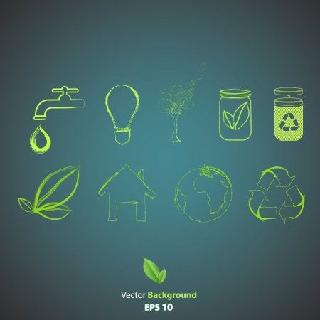 Collection of green icons.   Vector