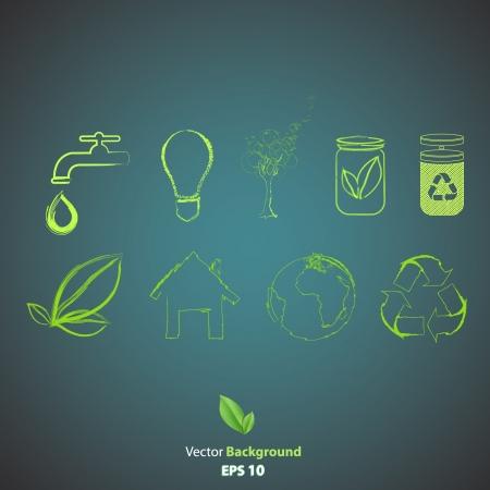 Verzameling van groene pictogrammen.