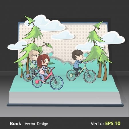 Friends with bikes inside a Pop-Up book  Vector
