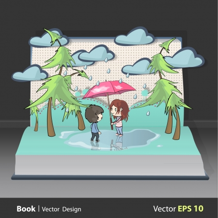 couples outdoors: Children in the rain inside a Pop-Up book