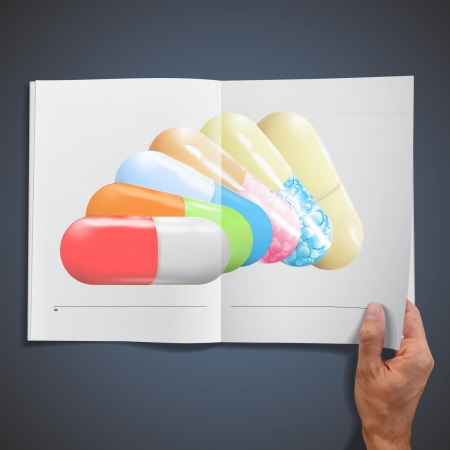 Several pills inside a book.  Vector