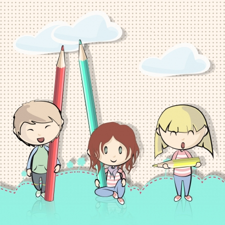 cartoon summer: Group of children outside playing with colored pencils