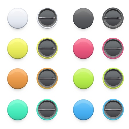 button art: Collection of colorful badges on isolated background