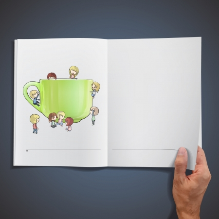 Many children around a cup of tea printed on book  Vector design Stock Vector - 17095543