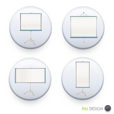 Set of badges with projector screen inside  Vector design   Vector
