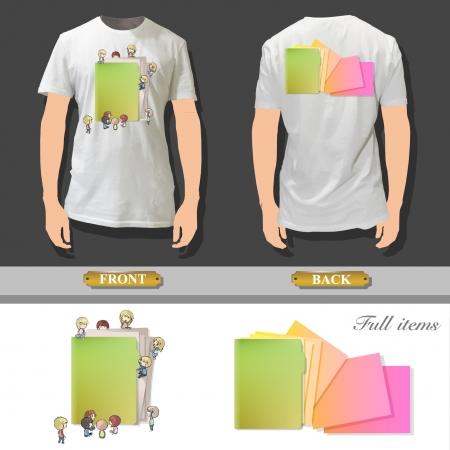 Kids around the folder printed on white shirt  Vector design   Stock Vector - 17095537