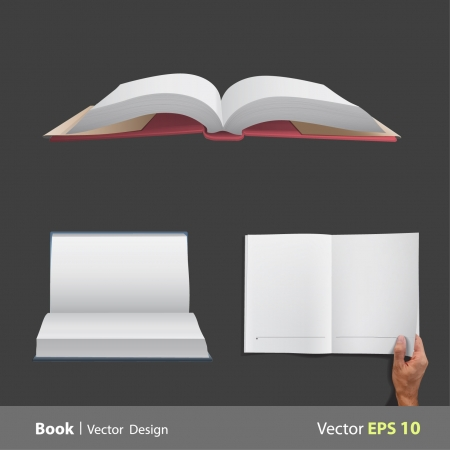 Collection set of open books  Realistic  design   Illustration