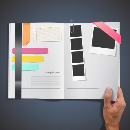 full frame: Open full white book with photo, text, paper, design