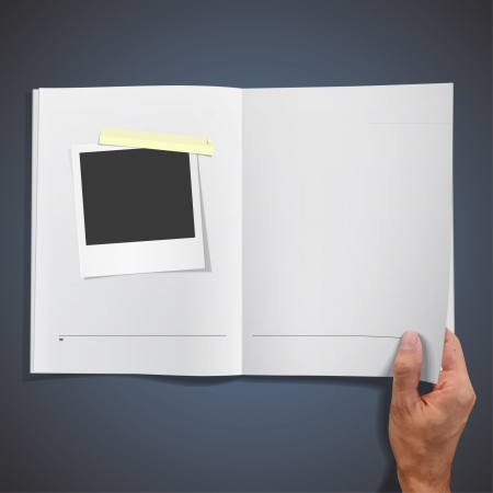 Open book with photo to insert picture design   Vector