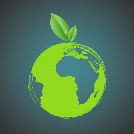 icono ecologico: Eco icono de una hoja en un dise�o de planeta Vectores
