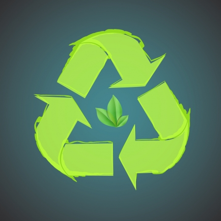 Recycle icon with leaf inside design   Vector