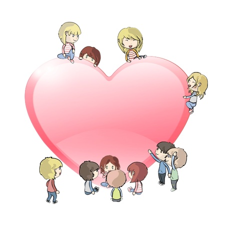 Kids around heart  Vector design Stock Vector - 17265311