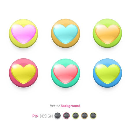 Icon of colorful hearts inside a web button design  Stock Vector - 17150353