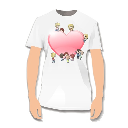 Heart with kids printed on white shirt  Vector illustration Stock Vector - 17265312