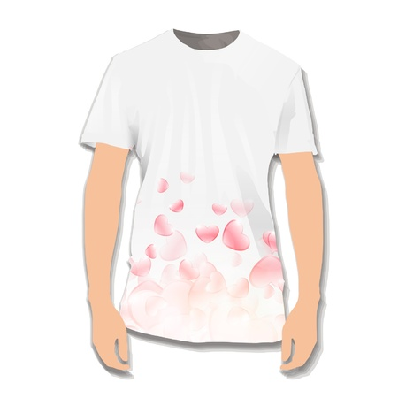 Hearts printed on white shirt  Vector illustration Stock Vector - 17265336
