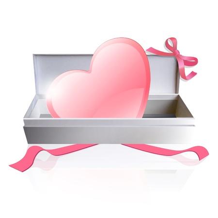 Pink heart inside a box design Stock Vector - 17150335