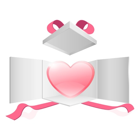 Cute pink heart inside a gift box  design Stock Vector - 17150236