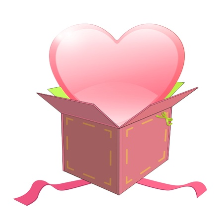 Cute pink heart inside a box design  Stock Vector - 17150302