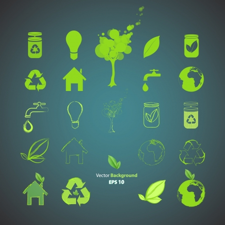 Collection of ecological icons  Vector design   Stock Vector - 17265582
