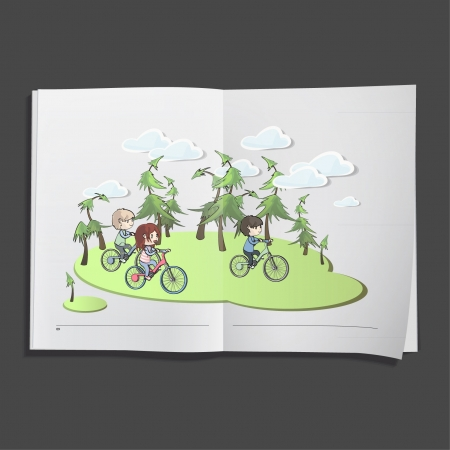 kids on bike printed on white book, Vector design   Vector