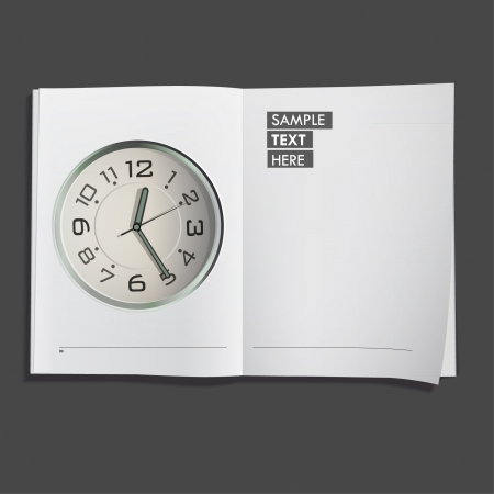 Clock printed on white book  Vector design Stock Vector - 17265539