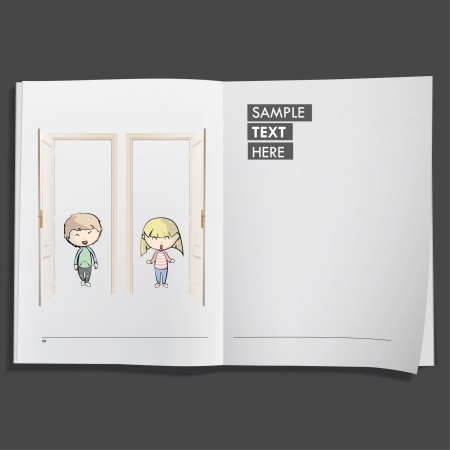 Kids behind door printed on white book, Vector design   Vector
